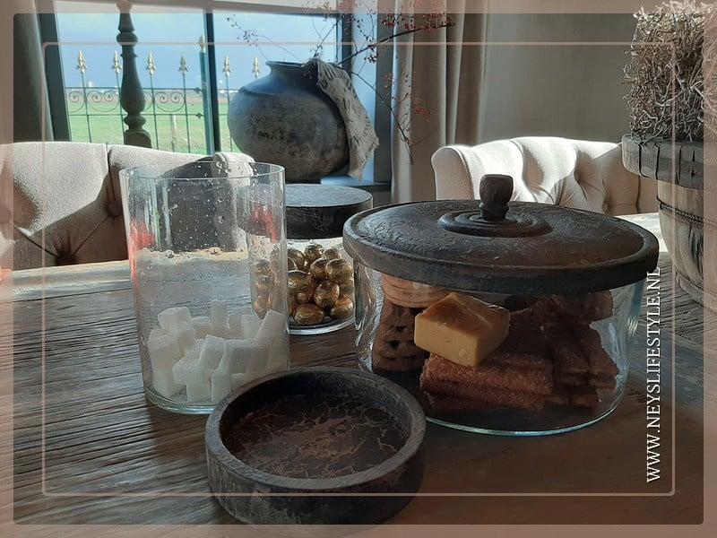 Glazen koekjespot met deksel