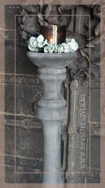 Vloerkandelaar 125 cm | oud grijs