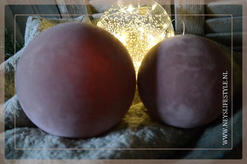 Kerstbal velvet oud roze | S