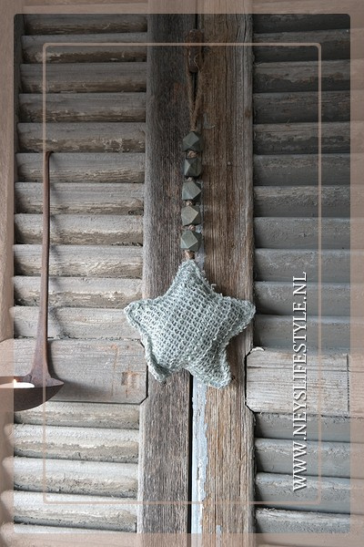 Ster hanger stof | grijs S