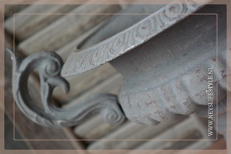 Franse pot ijzer met oren | grijs