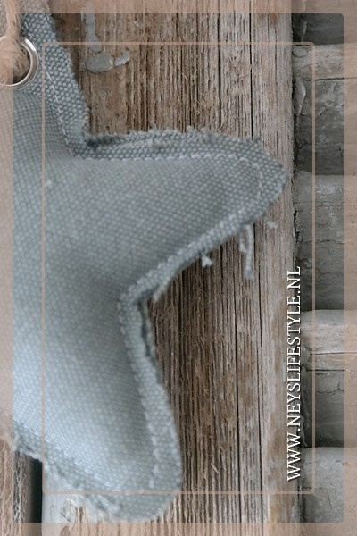 Ster hanger linnen | grijs S