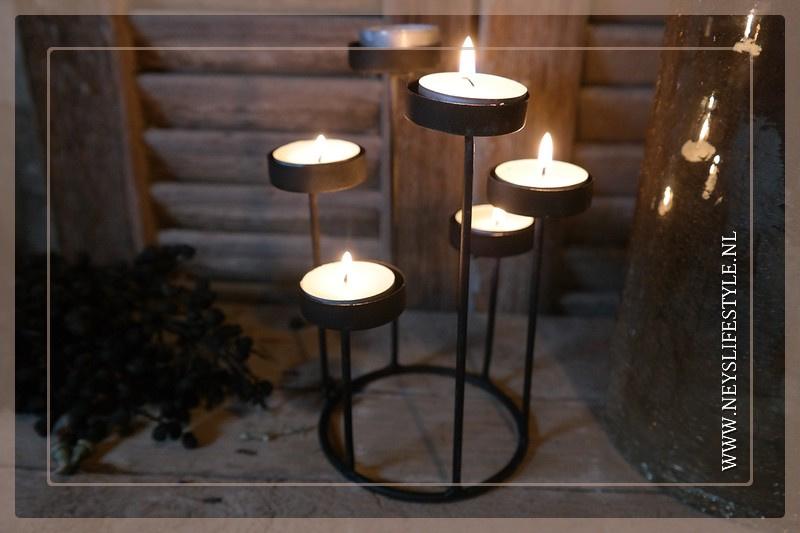 Waxinelichthouder tray |  zwart