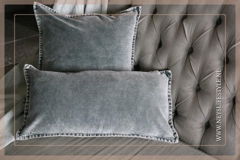 Velvet kussen washed Pip 50 x 50 cm | grijs
