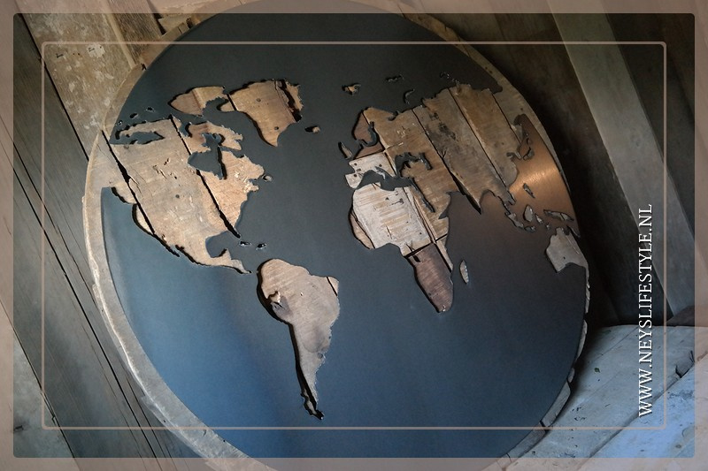 Wereldkaart rond op schijf | 90 cm