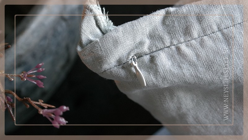 Kussen linnen 45 x 45 cm   grijs/groen