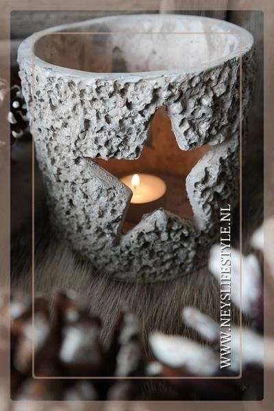Theelicht steen ster 13 cm