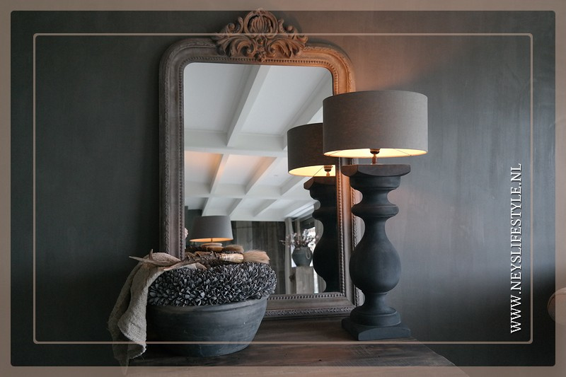 Baluster lamp op voet |  old black