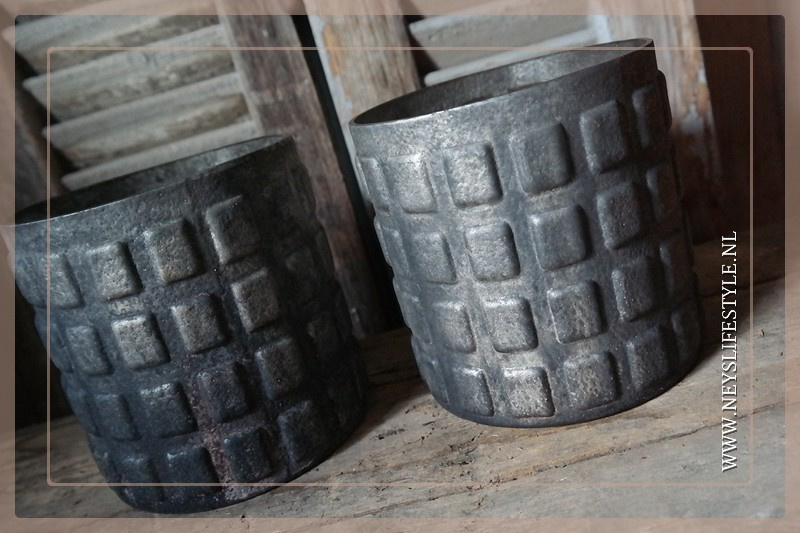 Windlicht Blocks   brown/grey