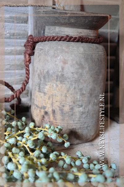 Oude Nepalese kruik met deksel | 5