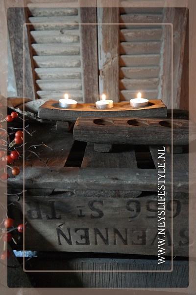 Wijnvatplank | 3 theelichtjes