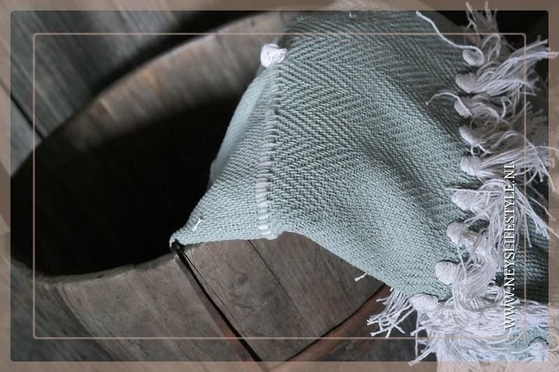 Plaid linnen bol/kwast | mint groen
