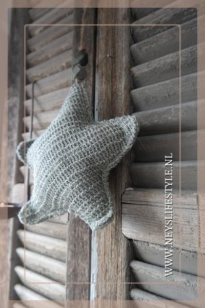 Ster hanger stof | grijs M