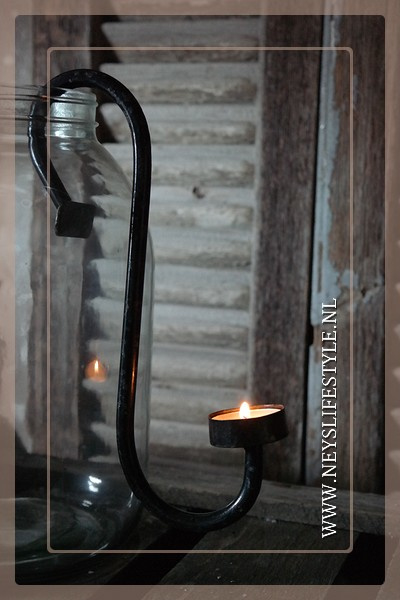 Hang kandelaar waxinelichtje zwart | XL