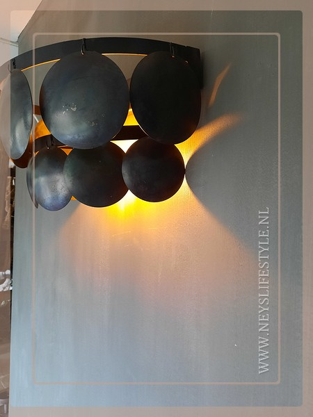 Schijfjes wandlamp incl fitting  | black