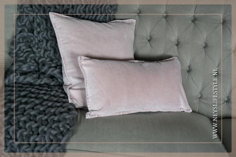 Velvet kussen washed Pip 50 x 50 cm | rose