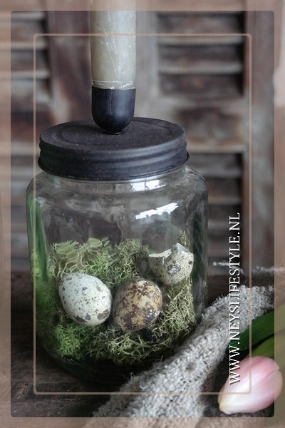 Glazen pot met kaarsdeksel | S