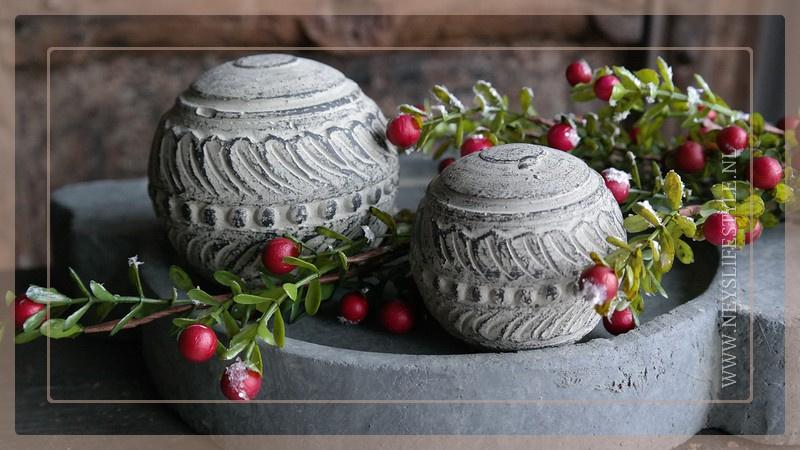 Set 2 ballen aardewerk | classic brown