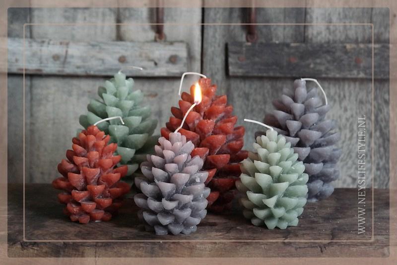 Kaars pine cone | grijs M