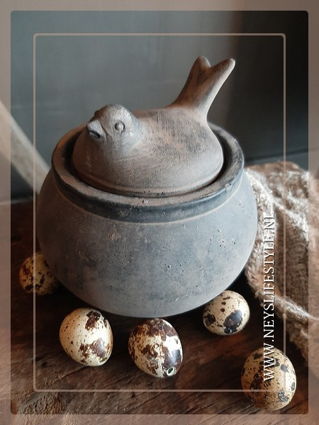 Vogel op nest waxinelichthouder | grey/brown