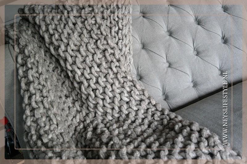 Grof gebreid plaid 150 x 125 cm | wol