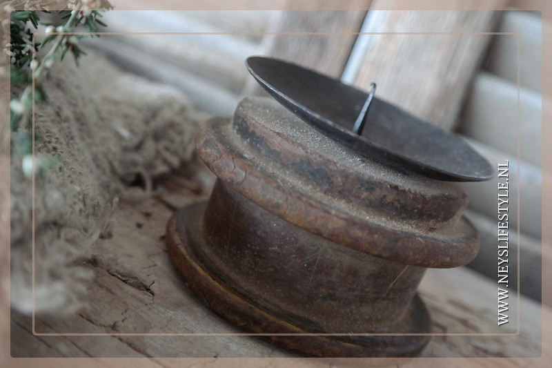 Kandelaar houten spoel