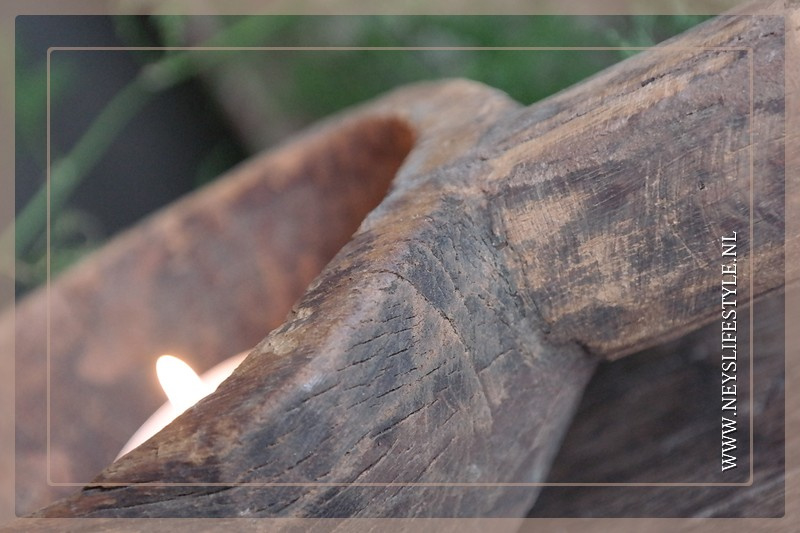 Spoon waxinelichthouder | hout