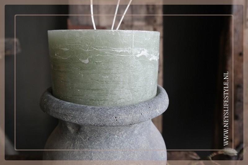 Kaars rustic 3 fuses | groen 14 x 8 cm
