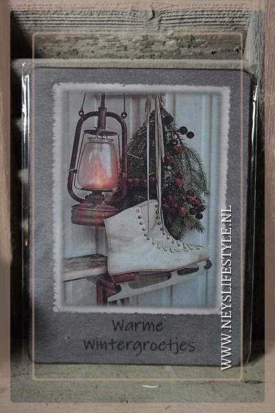Deco bordje | Warme wintergroetjes