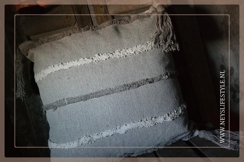 Kussen linnen streep/kwast | beige bruin