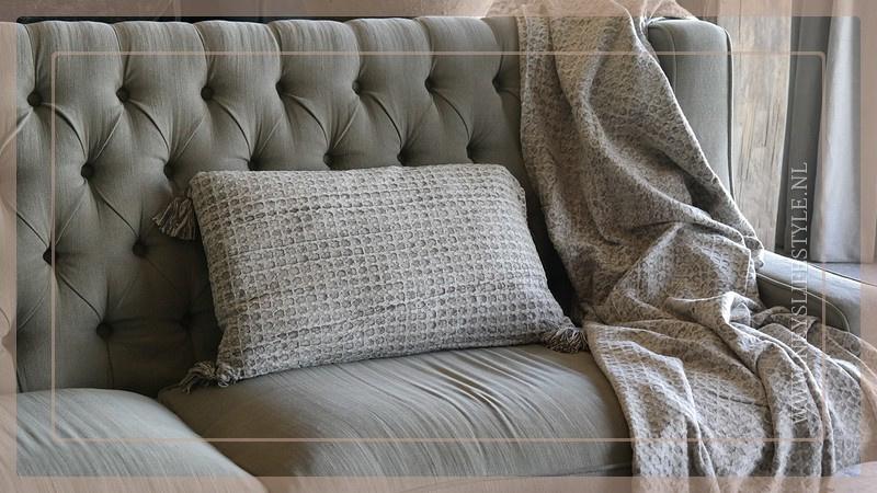 Plaid 220 x 240 cm | wafel licht grijs
