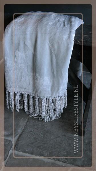 Plaid fleece franjes | grijs