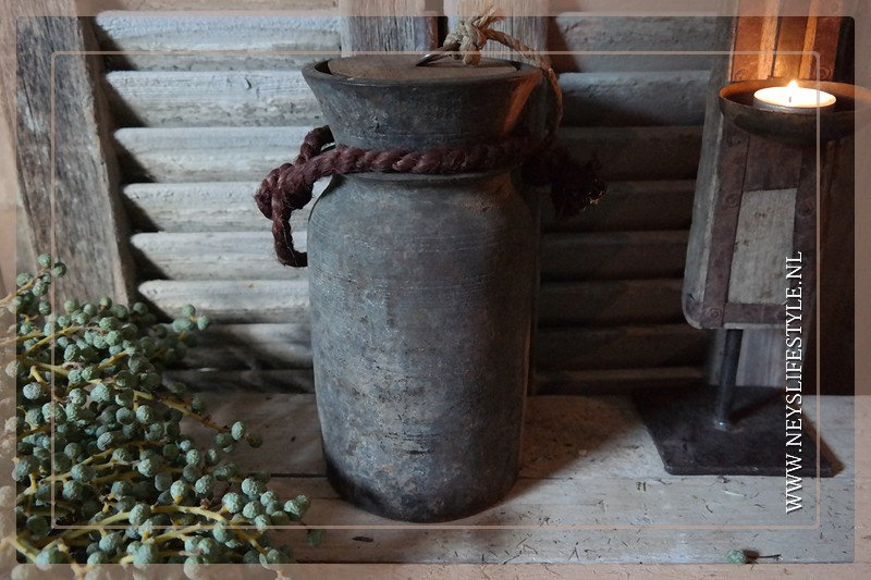 Oude Nepalese kruik met deksel | 4