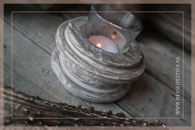 Windlichtje houten klos