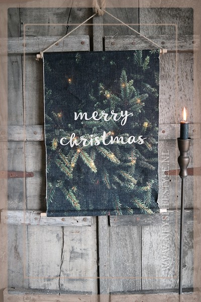 Wanddoek Merry Christmas LED   S