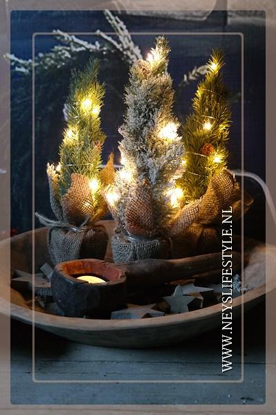 Set kerstbomen met jute zak    M