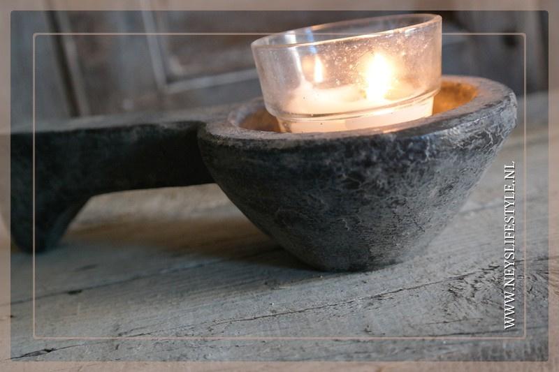 Oude houten lepel | grey 25 cm