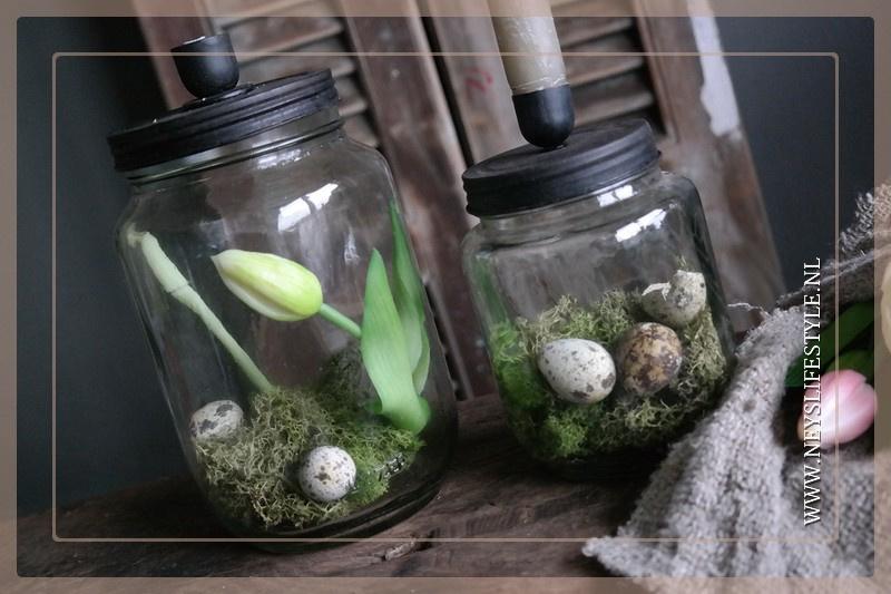 Glazen pot met kaarsdeksel | M
