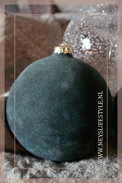 Kerstbal velvet groen | S