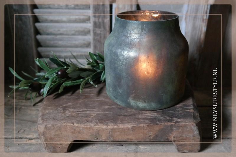 Windlicht Laro bloom  | Sage green S