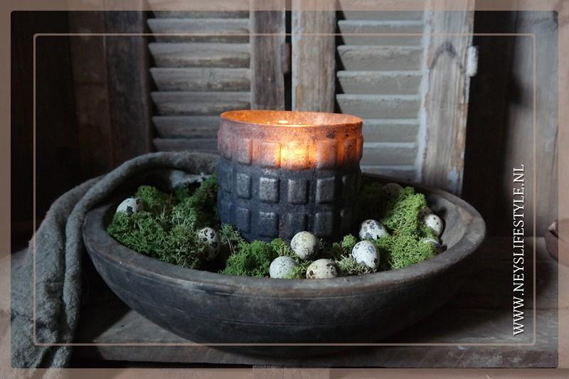 Oude originele houten schaal rond | M