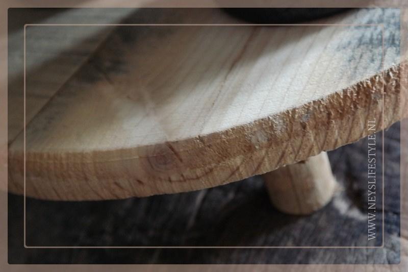 Plateau met poten hout | rond