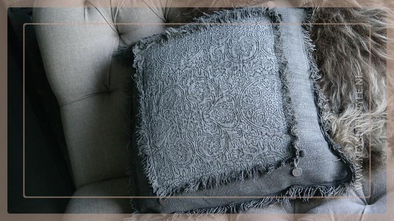 Kussen linnen/kalk sober 45 x 45 cm   grey