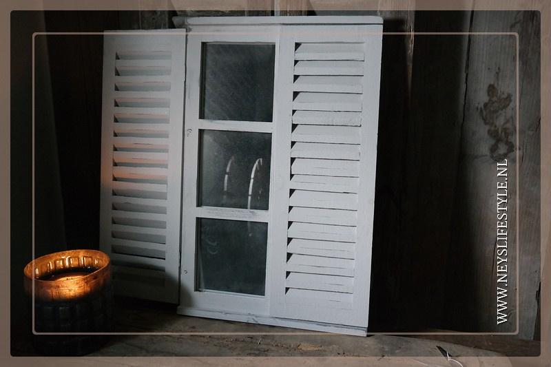 Spiegel louvre deur | whitewash