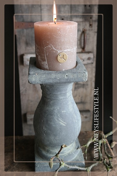Kaars rustic | taupe 10 x 10 cm