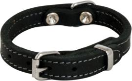 Zacht vet leren halsband zwart