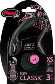 Flexi New Classic XS zwart (3 mtr)
