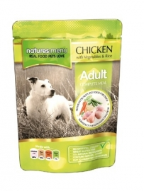 8 x Natures Menu Dog Pouch Adult Kip 300 gram.