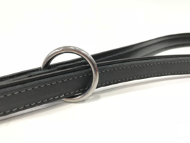 Verstelbare Geoliede Leren Honden Dressuurlijn zwart  2 meter
