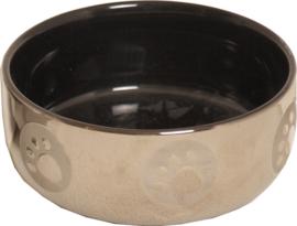 Kattenvoerbak steen zwart zilver